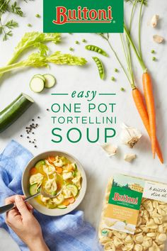 Light and warming, this Vegetable Tortellini Soup recipe is great for a simple winter dinner or light lunch. Plus, it all goes in one pot, making for fast and easy prep. Crisp carrots and zucchini meet sautéed leek and celery in the middle of a delicate vegetable broth, but freshly made Whole Wheat Three Cheese Tortellini becomes the star of the soup. Sprinkle with herbs and cheese to finish off.