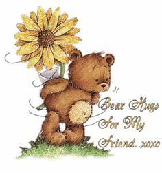 Bear Hugs for My Friend cute friendship hugs friend teddy bear friend quote poem graphic special friend friend greeting