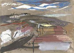 John Piper, Portland Foreshore (Dorset, SW watercolour, bodycolour and black ink, 26 x cm x 14 inches). Landscape Photos, Landscape Art, John Piper Artist, John Minton, Just Ink, Famous Artists, Art Forms, Collage Art, Art Photography