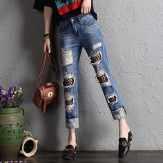 576492b6ed004a Summer Plus Size Hatem Pants Jeans Fashion Tide Ripped Hole Loose Net Yarn  Spliced Denim Pants High Waist Casual Women Trousers-in Jeans from Women s  ...