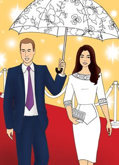 Hitting a red carpet with Prince William. Kate Middleton Coloring Book on Sale at Kensington Palace