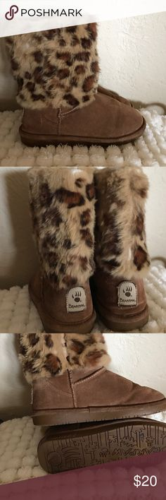 Suede short boots Great condition fur inside leopard print chestnut color suede BearPaw Shoes Ankle Boots & Booties