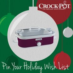 Have your entered our Pinterest sweepstakes yet? Enter today for your chance to win your favorite Crock-Pot® Slow Cooker (like this Crock-Pot® Casserole Crock™ Slow Cooker). Visit http://on.fb.me/Rp2hVW to enter. Sweepstakes ends 12/24. #CrockPot #SlowCooker #casserole #holiday #wishlist #gift #pintowin #sweepstakes [Promotional Pin]