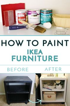 How To Paint Ikea Furniture. How To Paint Ikea Furniture - Becoming A Bombshell. Ikea Furniture Makeover, Ikea Furniture Hacks, Apartment Furniture, Furniture Covers, Cool Furniture, Refurbished Furniture, Kitchen Furniture, Bedroom Furniture, Ikea Makeover