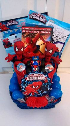 $50 @Ebay Blue & Red 2 Small Spidey's & Car EASTER GIFT BASKET #Spiderman #Easter