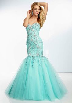Aqua Blue Beaded Strapless Lace and Tulle Mermaid Wedding Dress