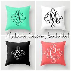 Monogram Pillow Cover, Initial Pillow Covers 18 x 18, Throw Pillows Blue Home Decor Modern Monogram, Teen Girl Room Decor, Family Name