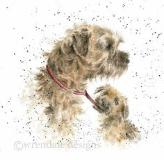 Top Dog by queen Animal Paintings, Animal Drawings, Dog Photos, Dog Pictures, Border Terrier Puppy, Different Forms Of Art, Wrendale Designs, Dog Cards, Watercolor Animals