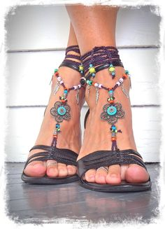 Hippie FLOWER BAREFOOT sandals colorful Gypsy Barefoot by GPyoga
