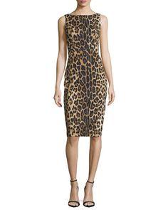 Altuzarra Shadow Leopard-Print Sheath Dress