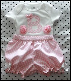 Super Cute Personalized Embroidered Initial Bodysuit/Onesie and Diaper Cover/Bloomer Set on Etsy, $28.00