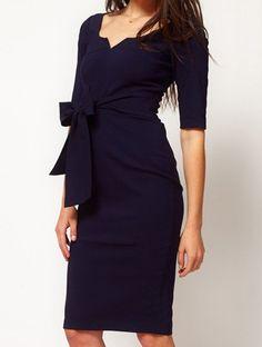 Navy Half Sleeve Drawstring Waist Backless Dress