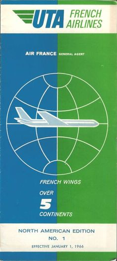 UTA French Airlines system timetable 1/1/66