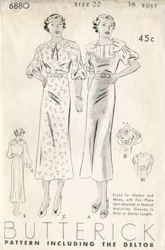 Here is a lovely, slim day dress pattern. Isn't the collar a wonderful contrast to the straight lines of the skirt?