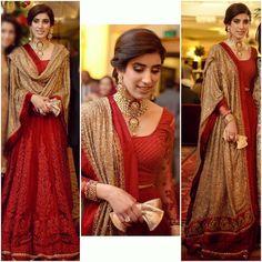 "1,288 Likes, 43 Comments - Mubashra Aslam (@mubashra.ali) on Instagram: ""Red and gold #classiccombination #soregal #loveitforever #ofweddingsandmore @sabyasachiofficial"""