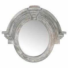 "Hand-carved salvaged wood wall mirror with crown moldings and a gray finish.  Product: Wall mirrorConstruction Material: Salvaged wood and mirrored glassColor: GreyFeatures:  Crown moldingsHand-carved Dimensions: 37"" H x 41.5"" W x 5"" D"