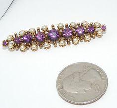 Vintage Purple rhinestone & faux pearl Bar type BROOCH pin costume jewelry