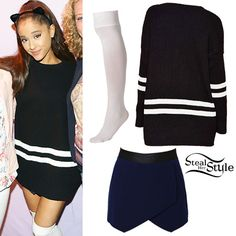Ariana Grande met with fans at the first of her two nights in Amsterdam wearing the black and white striped Nasty Gal On The Line Sweater ($68.00, sold out) with her navy blue Nasty Gal Courted Skirt ($48.00, sold out) and white American Apparel Opaque Over-the-Knee Socks ($13.00).  You can buy an imitation of this sweater at Chicnova ($29.23) and a similar skort at Boohoo ($14.00)