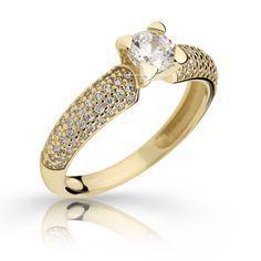 gold engagement ring with a round brilliant diamond (fashion design: Danfil Diamonds) Gold Engagement Rings, Wedding Rings, Brilliant Diamond, Her Smile, Diamonds, Unique, Fashion Design, Jewelry, Jewlery
