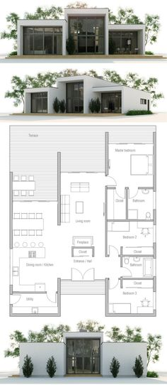 Modern Minimalist House Plan, Modern Architecture, Home Plan, House Plan Container House Design, Small House Design, Modern House Design, Container Houses, Small House Floor Plans, Modern House Plans, Shipping Container Home Builders, Shipping Containers, Luxury Floor Plans