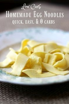 Easy low carb egg noodles - homemade pasta with 0 carbs that you can quickly make at home. Love this stuff! From Lowcarb-ology.com