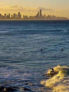 Surfing at sunset, Surfer Paradise, Queensland, Australia