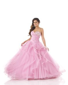2015 Pink Ruffled Lace Up Tulle Sleeveless Crystals Sweetheart Floor Length Prom / Ball Gown / Quinceanera Dresses 5542