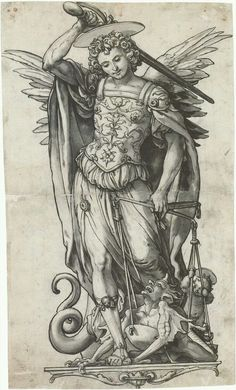 The Archangel Michael Weighing Souls, by Hans Holbein the Younger - my favorite saints of all time! St Michael, pray for us! Angels Among Us, Angels And Demons, Michael Angel, Hans Holbein The Younger, Archangel Gabriel, Archangel Michael Tattoo, St Michael Tattoo, Ange Demon, Guardian Angels