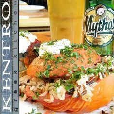 """Stuffed Tomatoes Malaka #kentro #kentrogreekkitchen #tomato #chocolate #music #beer #happy #yummy #delicious #cream #desert #bar #eat #foodporn #foodie…"""