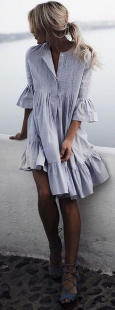 General Tunic Neutral Day Dresses Round Neckline Spring Summer Cotton A-line Dress S M Knee-Length L Sleeves XXL Ruffles Solid Dress Robe Swing, Swing Dress, Trendy Summer Outfits, Summer Dresses, Stylish Outfits, Casual Summer, Look Fashion, Womens Fashion, Latest Fashion
