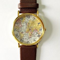 Map Watch Vintage Style Leather Watch Women Watches by FreeForme, $5.99