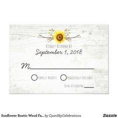 Sunflower Rustic Wood Farm Wedding Invitation RSVP by CyanSkyCelebrations on Zazzle