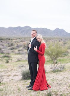 Black Tie Desert Engagement Photos - Inspired By This