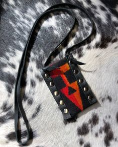 Amulet Necklace | Medicine Bag | Tiny Medicine Bag | Small Amulet Pouch | Tribal Bag | Festival Clothing Accessory Leather Fringe, Leather Pouch, Leather Purses, Pendleton Fabric, Tribal Bags, Music Items, Festival Accessories, Fun Music, Medicine Bag