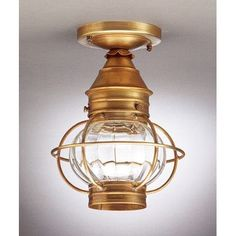 Northeast Lantern Onion Socket Caged Semi Flush Mount Finish: Antique Brass, Shade Color: Clear