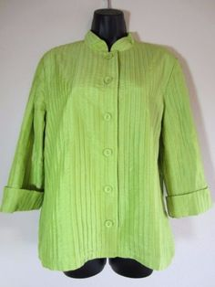 Chicos-Jacket-Size-2-L-Large-Lime-Green-3-4-Sleeve-Lined-Button-Front-Womens