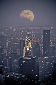 Moon and New York City