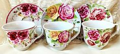 Set of 6 Assorted Rose Porcelain Tea cups and Saucers have 3 different patterns in each set of 6 tea...