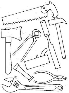 tools coloring page . cut out and craft a tool box for father's day Colouring Pages, Coloring Books, Outline Drawings, Parchment Craft, Fathers Day Crafts, Camping Crafts, Masculine Cards, Paper Cards, Drawing For Kids