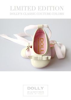 DOLLY by Le Petit Tom ® BABY BALLERINA'S 16B pink/beige + bow Ltd.Ed.