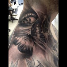 Awesome butterfly neck tattoo