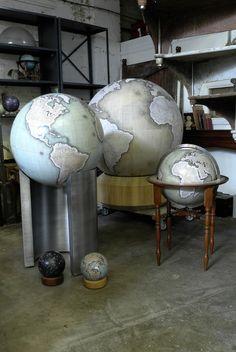 The studio at Bellerby & Co bespoke Globemakers http://www.bellerbyandco.com/ --- Handmade, bespoke, custom mini desk globe. Globes, world globe, antique globe, modern globe, handmade globe, bespoke globe, best globe, hand painted, earth, globetrotter, globetrekker, golden globes, the world, bellerby and co.