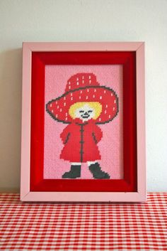 vintage MISS STRAWBERRY needlepoint wall hanging