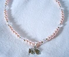 PINK BEADED ANKLET WITH LOVE CHARM £6.00http://folksy.com/items/6243741-PINK-BEADED-ANKLET-WITH-LOVE-CHARM