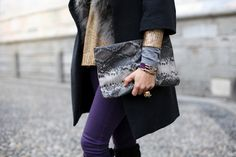 Gold, gray and purple..