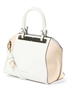 Gorgeous color blocked faux leather satchel. With dual handles and a detachable, this is the perfect piece for any outfit!