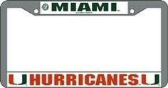 Miami Hurricanes License Plate Frame Chrome