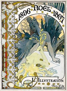 Chistmas, cover for 1896 issue of L'illustration by Alphonse Mucha.