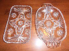 2VTG Anchor Hocking American Clear Pressed CuT Glass Bon Bon Plate & Relish Dish #AnchorHocking Ebay nannysattic15