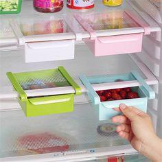 4.44AUD - Kitchen Fridge Space Saver Organizer Refrigerator Storage Rack Shelf Drawer #ebay #Home & Garden